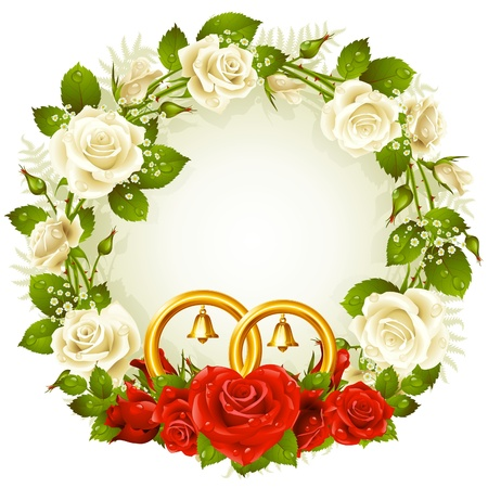 wedding frame:  frame with white and red rose and golden wedding rings Illustration