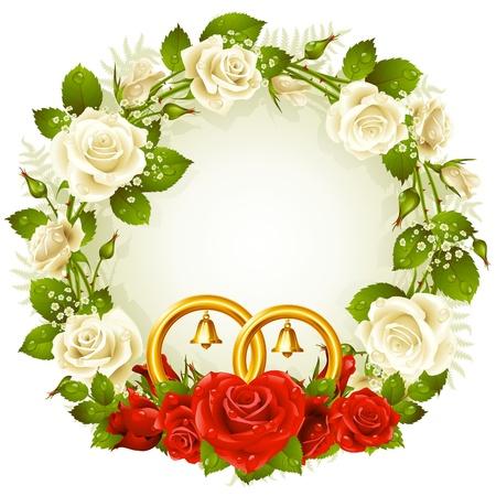 wedding backdrop: telaio con bianchi e rosa rossa e gli anelli di nozze d'oro