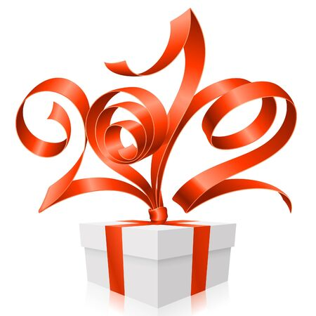 Gift box and red ribbon in the shape of 2012 Illustration