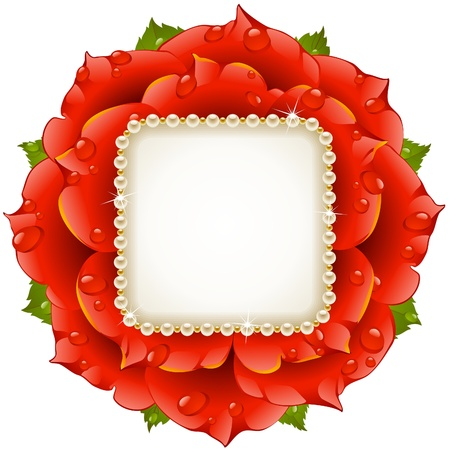 flowers close up: Red Rose circle frame Illustration