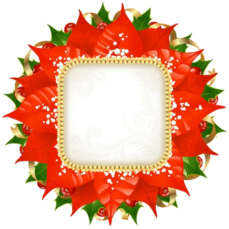 Christmas frame with red flower, holly and golden ribbon isolated on white background Vector