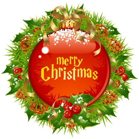 Xmas circle frame with big red ball, branch of christmas tree, pine cone, holly and golden ribbon isolated on white background. Vector