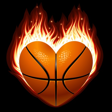 red love heart with flames: Baloncesto en el fuego en forma de coraz�n