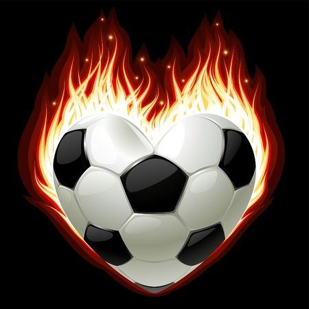Football on fire in the shape of heart Vector