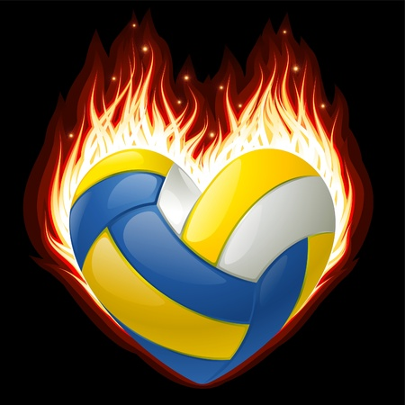 basketball ball on fire: Volleyball on fire in the shape of heart Illustration