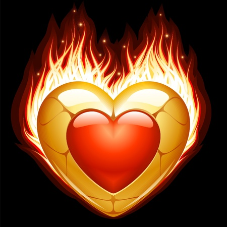 Jewelry in the shape of heart in fire Stock Vector - 11172807