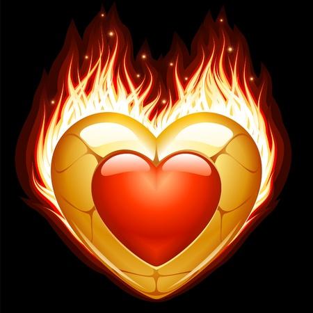 Jewelry in the shape of heart in fire