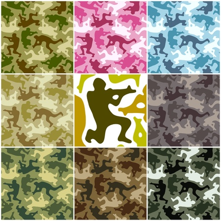army background: Camouflage set. Spots in the shape of men with weapons