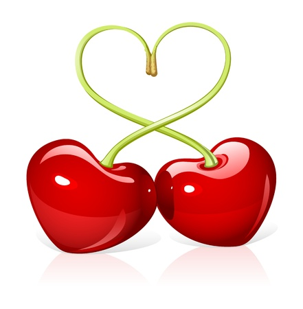kersenboom: Cherry liefde Stock Illustratie
