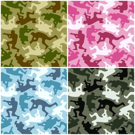 camouflage pattern: Camouflage set. Macchie a forma di uomini con armi