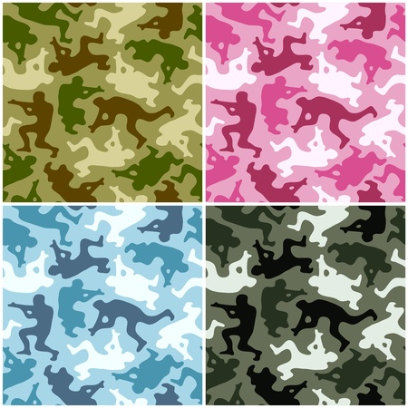 camouflage: Camouflage set. Spots in the shape of men with weapons