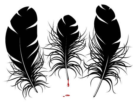 painted lines: feather silhouette