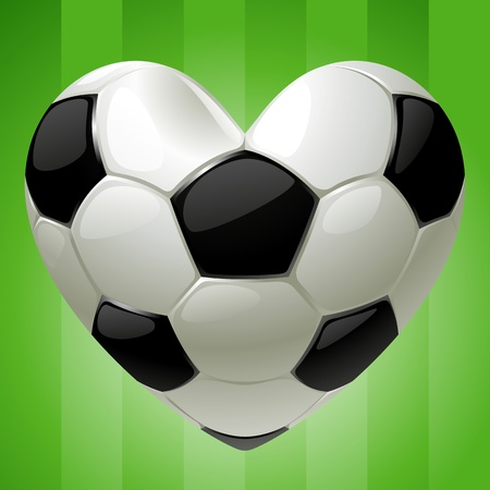 Ball for football in the shape of heart Illustration