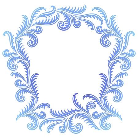 Frost Pattern frame. Winter window style border Vector