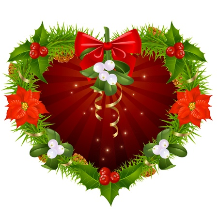 Christmas wreath in the shape of heart Vector