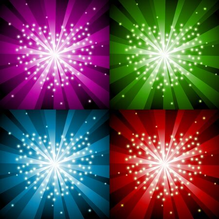 Sparkling background with heart in four colors Vector