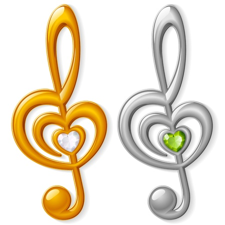 Treble clef in the shape of heart Vector