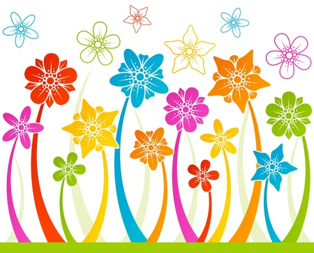 Floral horizontal seamless background Vector