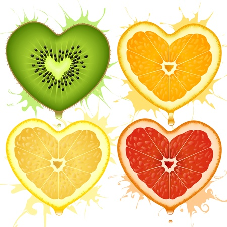 lime juice: Vector citrus hearts