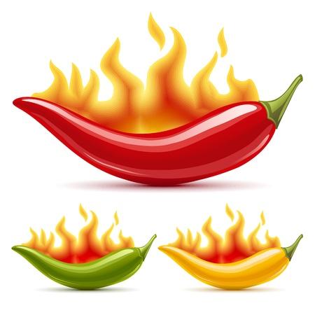 Grüne, gelbe und Red Hot Chili Peppers