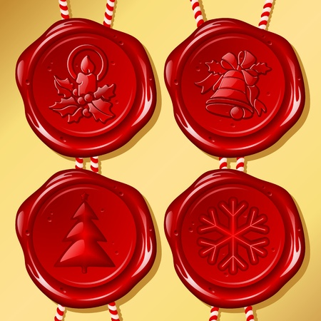 red wax seal: Set of Christmas sealing wax