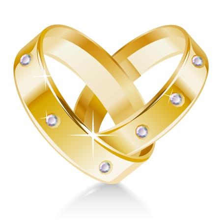 anillos de boda: Dos anillos de boda en forma de coraz�n Vectores
