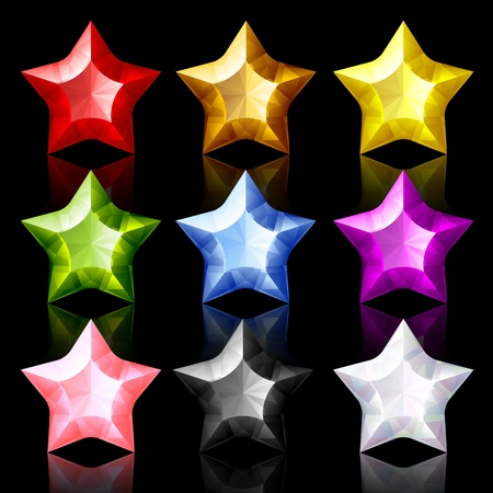 Set of nine jewelry Stars Vector