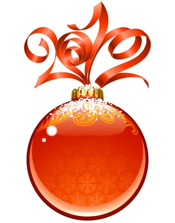 Christmas and New Year frame, vector red ribbon and ball Vector