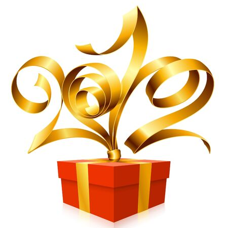 New Year and Christmas background with vector golden ribbon and gift box Stock Vector - 11222514