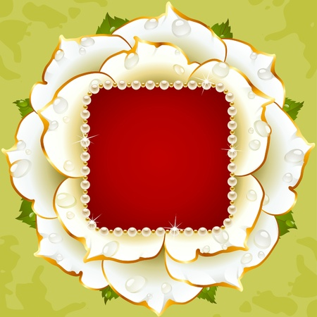 Vector floral background. White rose wedding frame with pearl necklace Vector