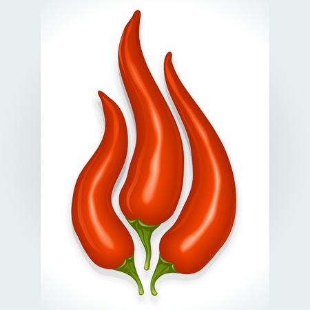 Vector Hot Chili in der Form des Feuers Zeichen auf weißem Hintergrund isoliert