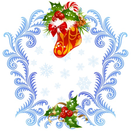 Christmas and New Year greeting card 3. Stocking, candy cane and holly Vector