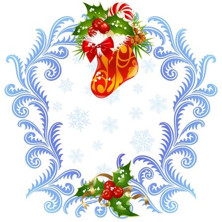 Weihnachten und Silvester Grußkarte 3. Stocking, Zuckerstangen und Holly