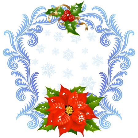 Christmas and New Year greeting card 5. Red Flower and holly Vector