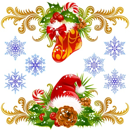 christmas tree set: Christmas design elements set 4. Stocking, Santa hat and candy cane