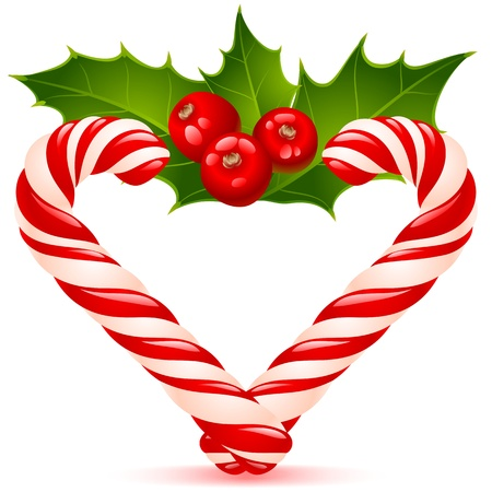 'yule tide': Christmas heart: candy canes and holly