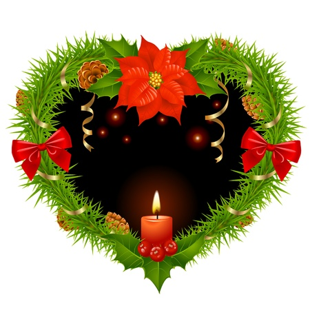 prickle: Christmas wreath in the shape of heart Illustration