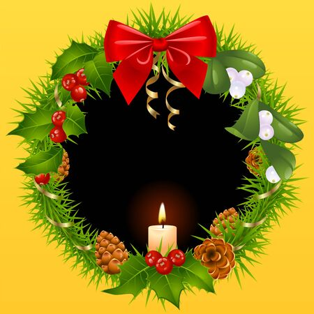 Christmas wreath with mistletoe, holly, pinecones, ribbons and candle Vector