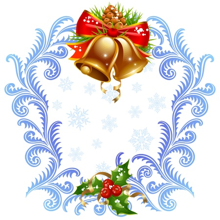windows frame: Christmas and New Year greeting card 5. Golden bells and holly Illustration