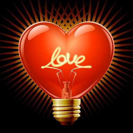 Light bulb in the Shape of heart Stock Vector - 11544028