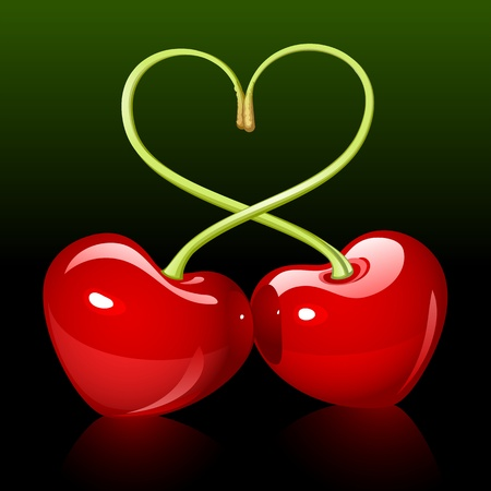 cherry love Vector
