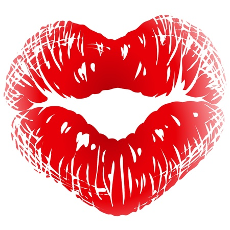 Kiss print in the shape of heart Vector