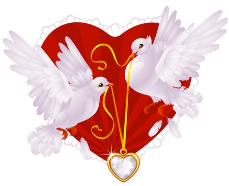 Two white pigeons and golden heart Vector
