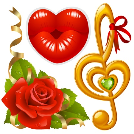 lipstick kiss: set of Love: corner with red rose, femail lips in the shape of heart and golden Treble clef