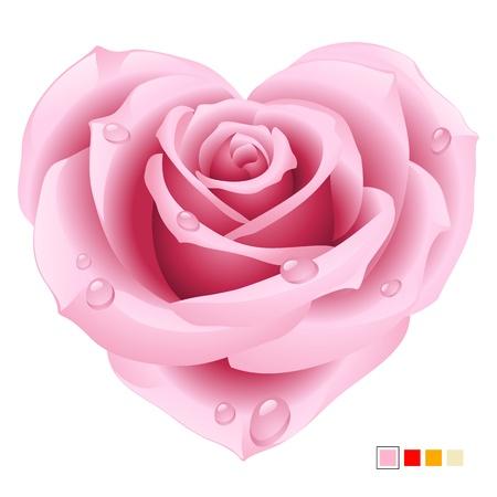 flower clip art: Pink Rose in the shape of heart