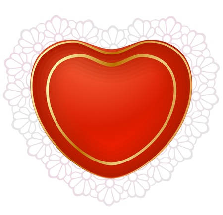 Red heart with lace Vector