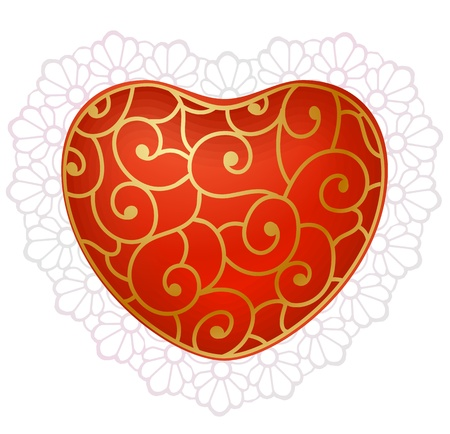 romance bed: Red heart with lace 2