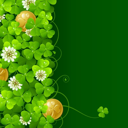 Clover glade and golden coins Vector