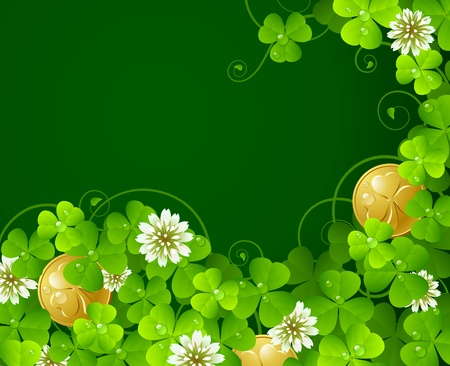 Patricks Day background: Clover glade and golden coins