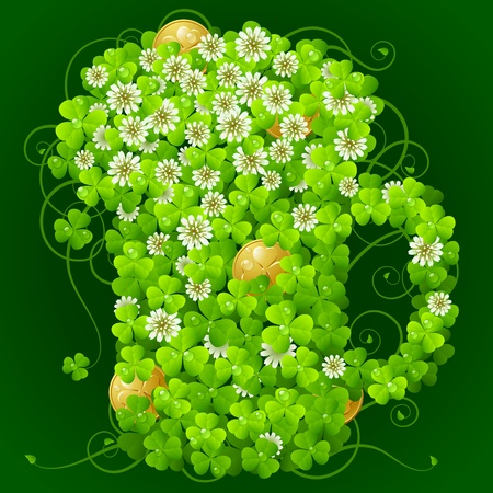 Clover glade in the shape of beer mug Vector